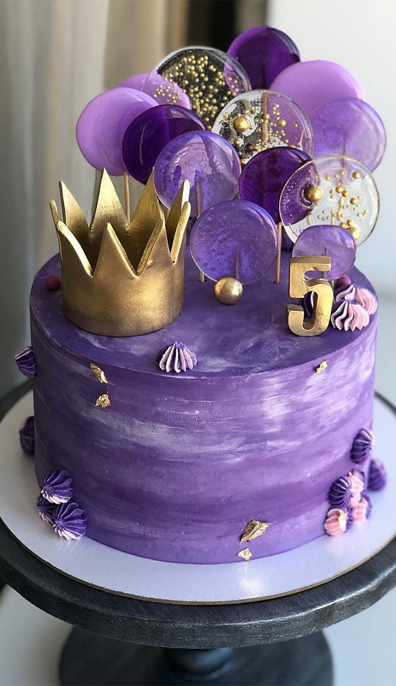 49 Cute Cake Ideas For Your Next Celebration : Purple Cake with gold accent