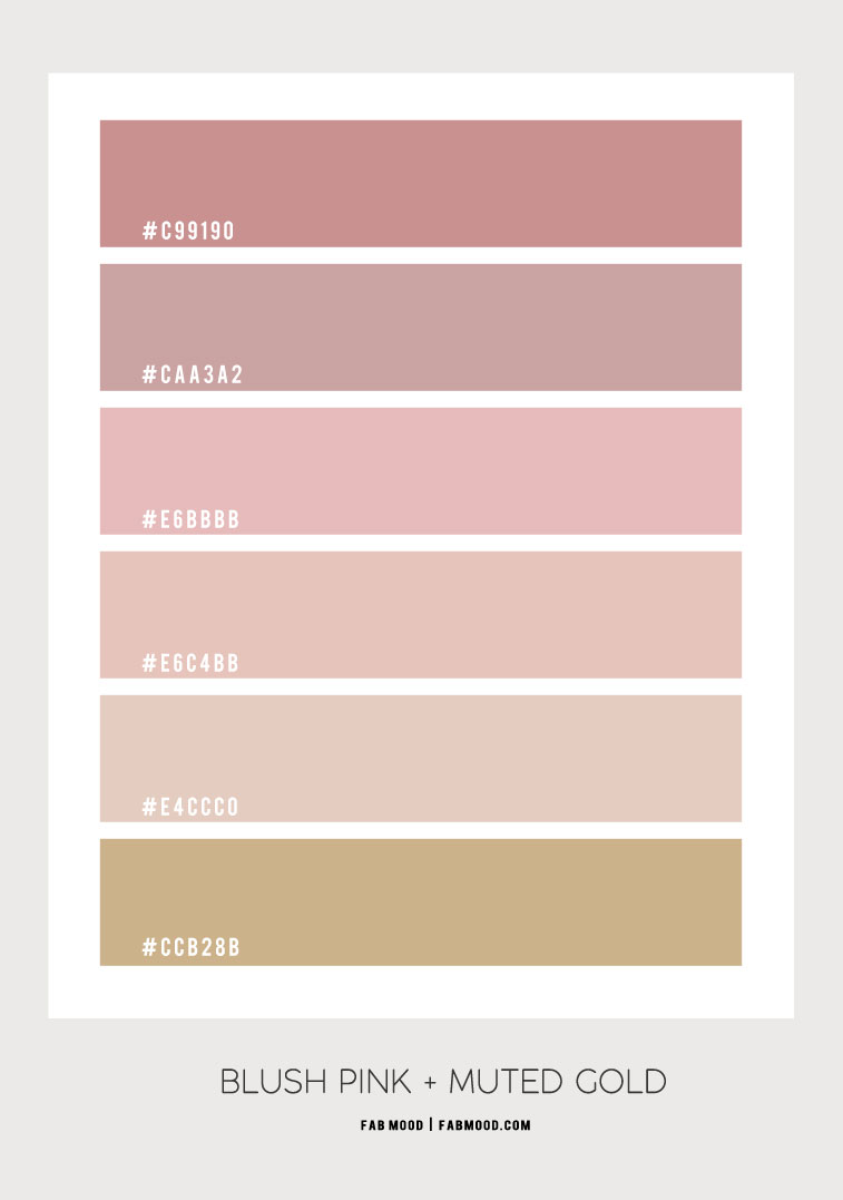 blush pink color combo, pink color combination, pink and mute gold, mauve pink and gold, color scheme #color #pink #colorcombination