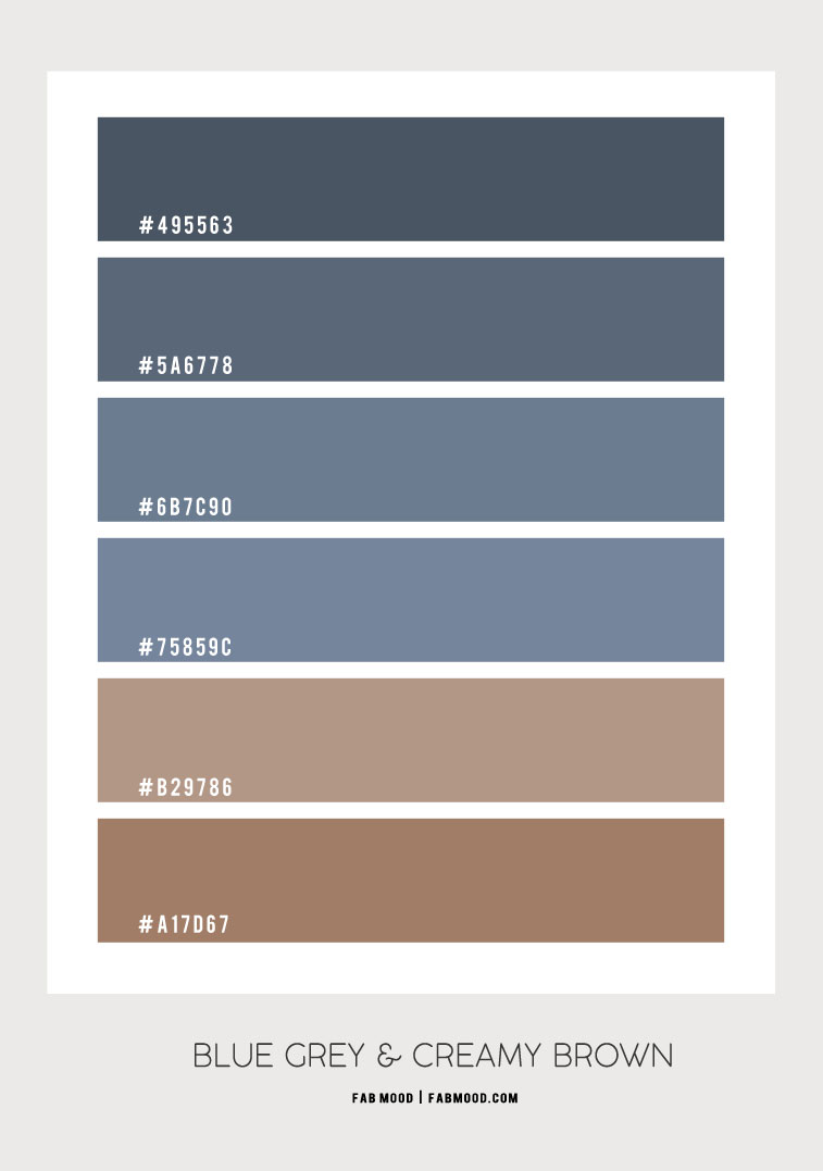 blue grey and brown color combo, blue grey and latte color scheme, blue grey and brown color combination #colorscheme #colorcombo