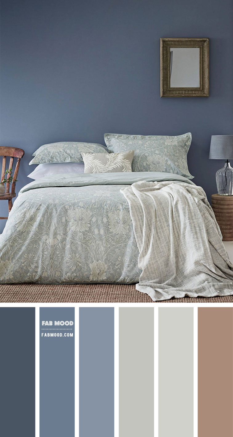 Blue Grey and Light Sage Bedroom