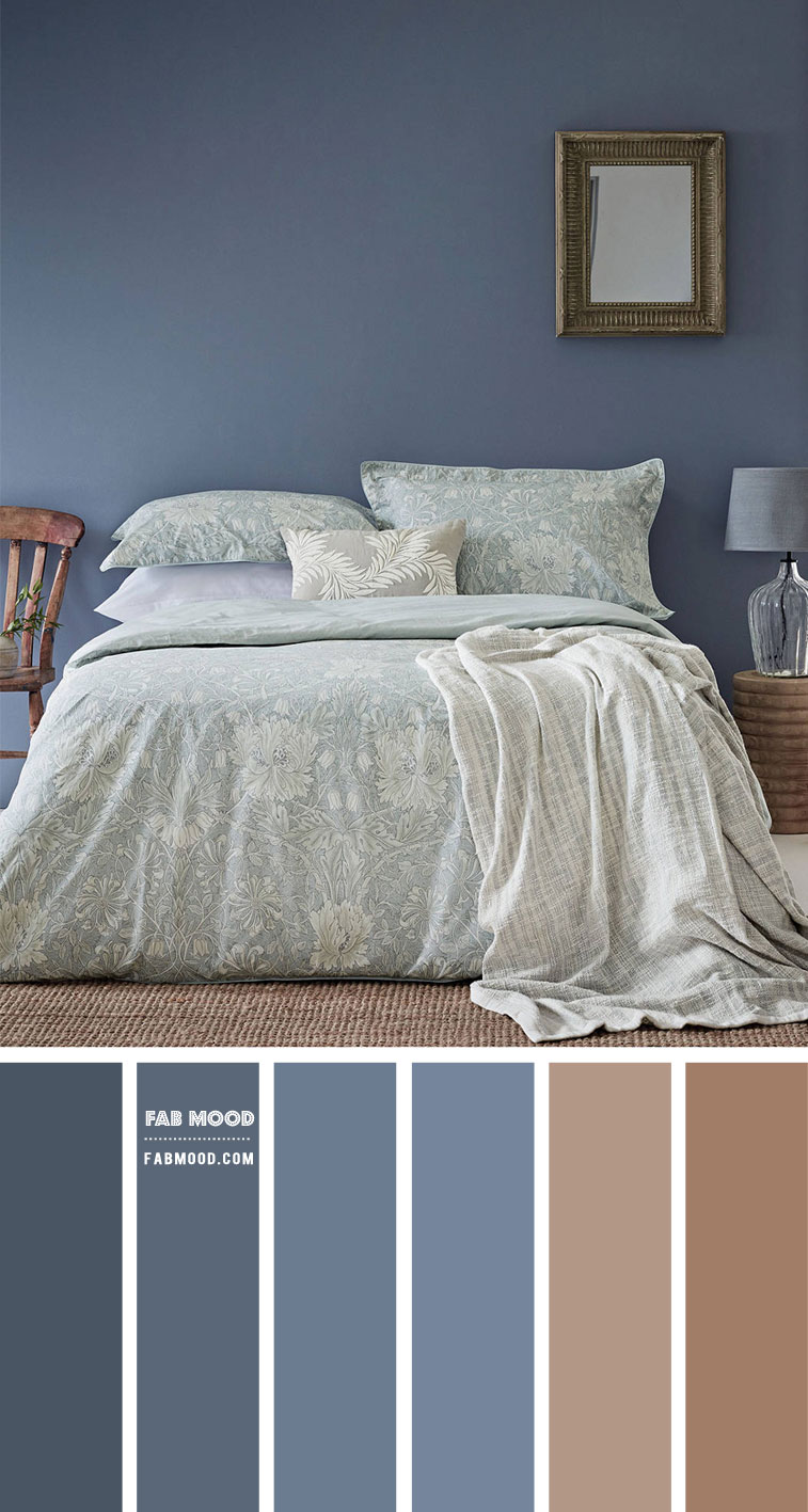 Blue Grey and Brown Bedroom