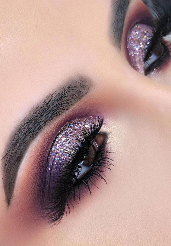 Gorgeous Eyeshadow Looks The Best Eye Makeup Trends – Shimmery purple Makeup