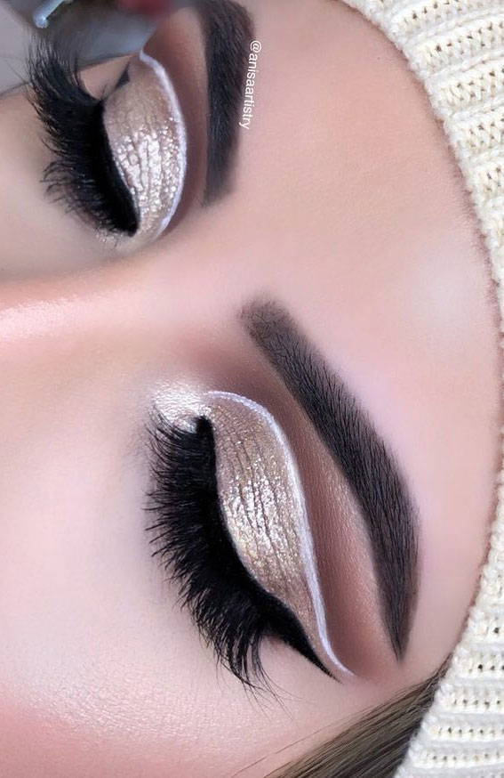 Gorgeous Eyeshadow Looks The Best Eye Makeup Trends – Gold Cut Crease