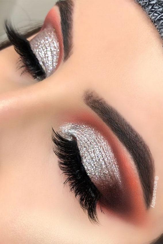 Gorgeous Eyeshadow Looks The Best Eye Makeup Trends – Glitter and Burnt Orange
