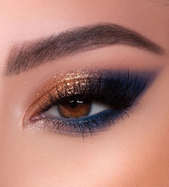 Gorgeous Eyeshadow Looks The Best Eye Makeup Trends – Blue & Gold