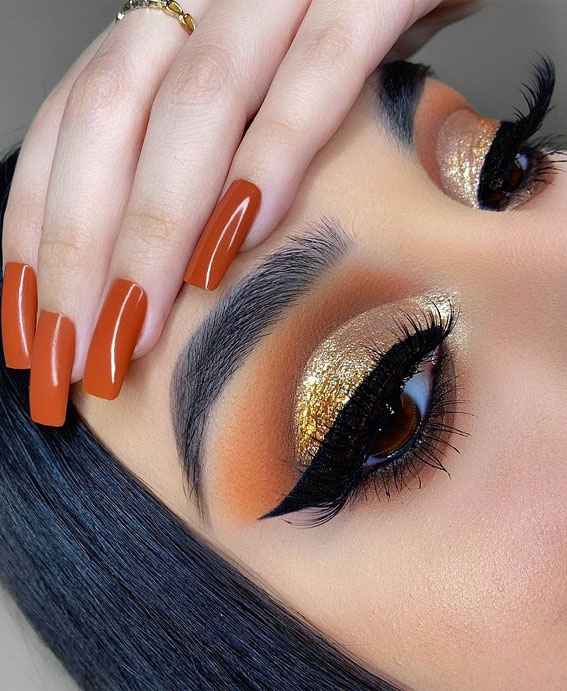 Gorgeous Eyeshadow Looks The Best Eye Makeup Trends – Gold Tones Autumn Look