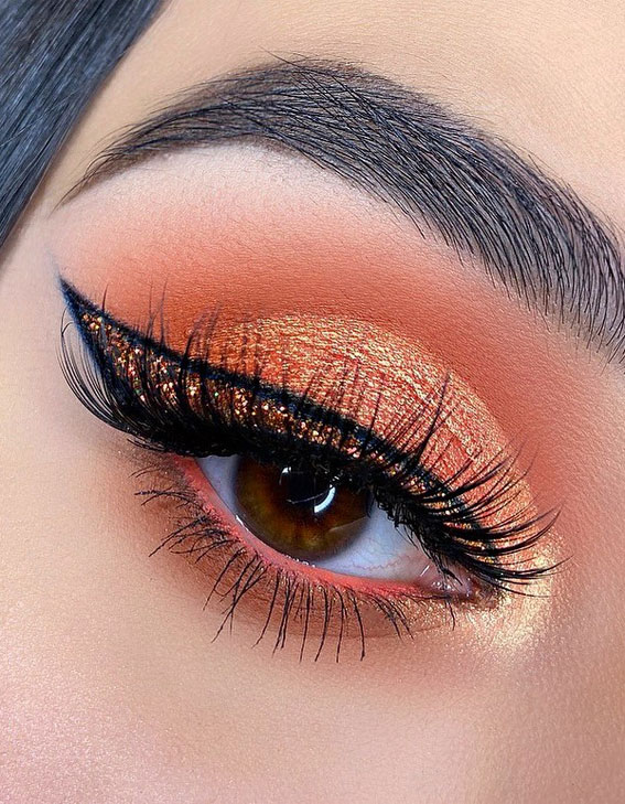 Gorgeous Eyeshadow Looks The Best Eye Makeup Trends – Coral-Orange