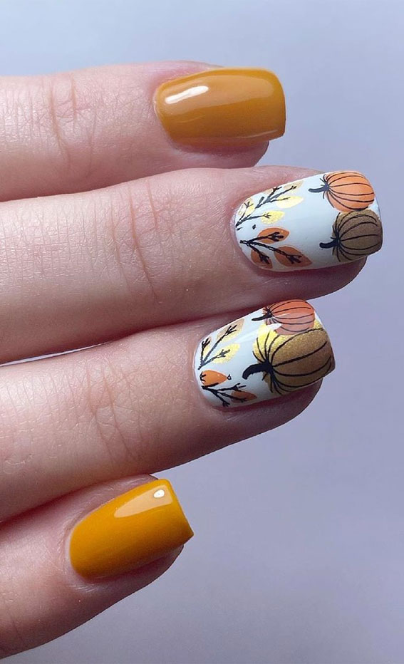 mismatched nails, fall nails, mismatched fall nail art #fallnails #nailart #autumnnails autumn nail ideas