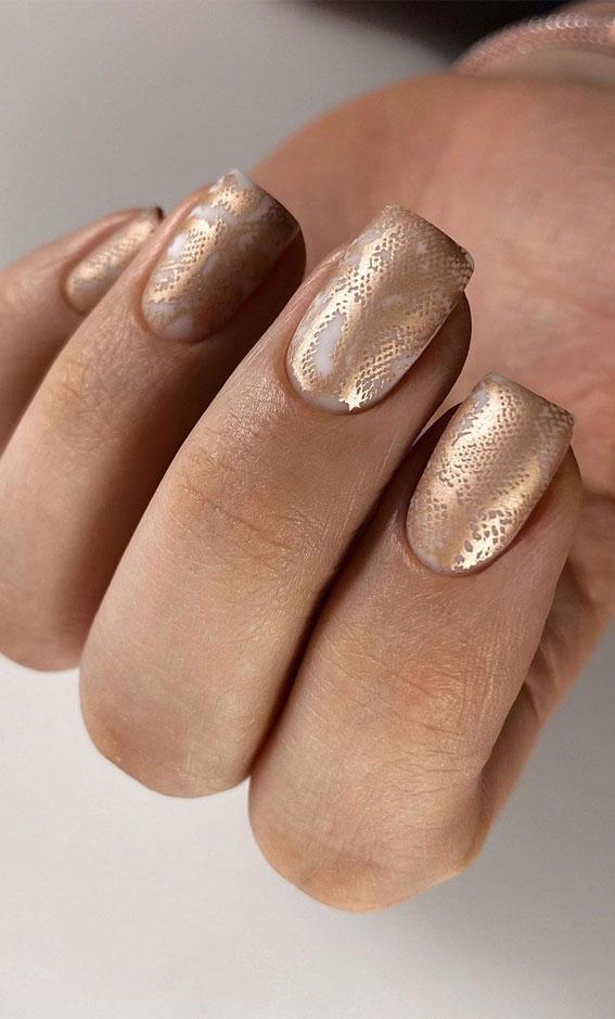 41 Pretty Nail Art Design Ideas To Jazz Up The Season : Gold Metallic Snake Skin Nails
