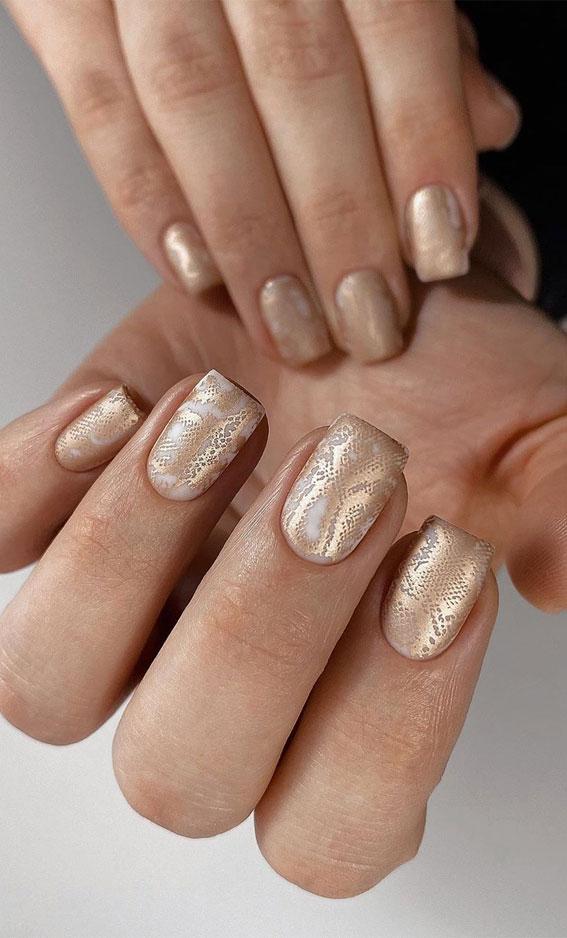 41 Pretty Nail Art Design Ideas To Jazz Up The Season : Snake Skin Nails