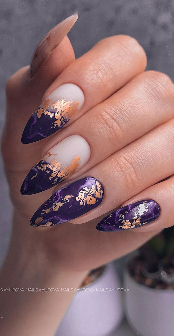 41 Pretty Nail Art Design Ideas To Jazz Up The Season : Sophisticated purple nails