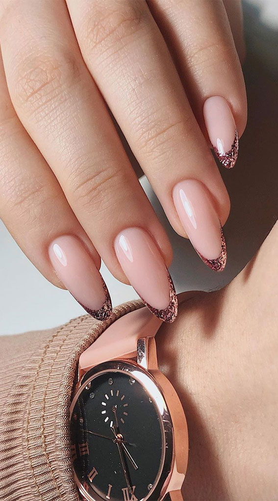 41 Pretty Nail Art Design Ideas To Jazz Up The Season : Rose gold glitter French tips