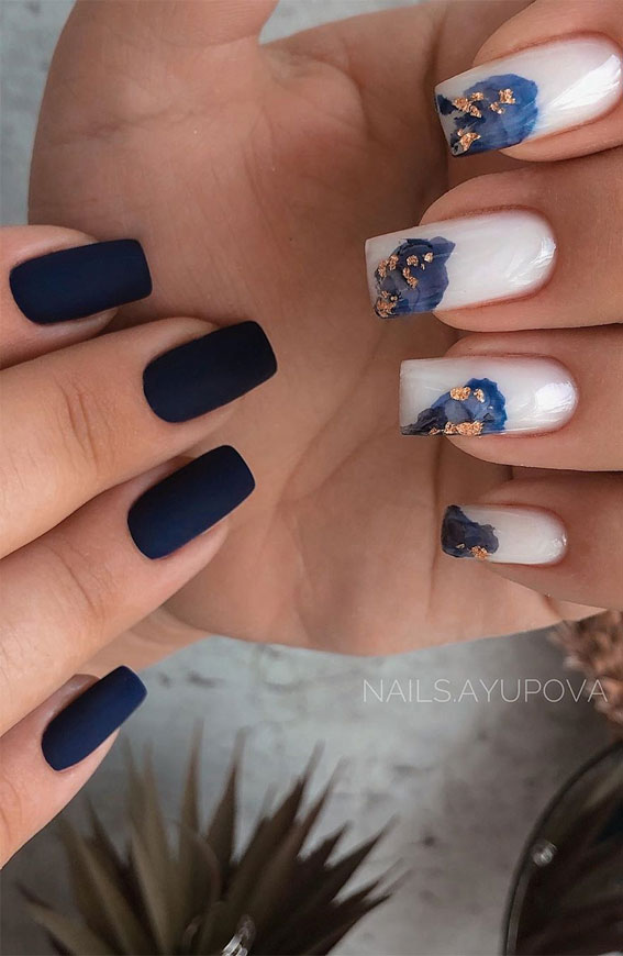 41 Pretty Nail Art Design Ideas To Jazz Up The Season : Matte black nails and marble nails
