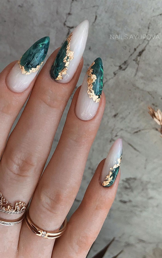 41 Pretty Nail Art Design Ideas To Jazz Up The Season : Green and Gold Nails