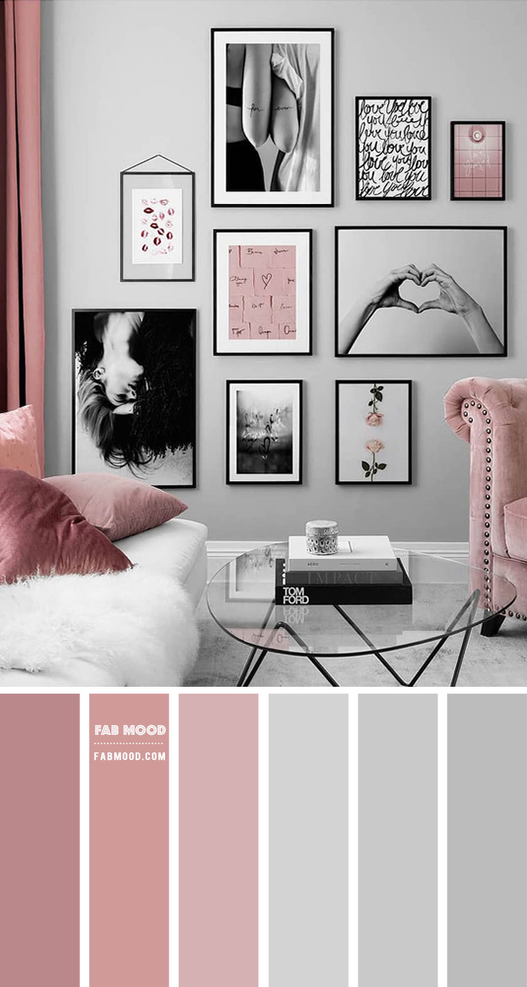 Grey Living Room with Berry & Mauve Pink