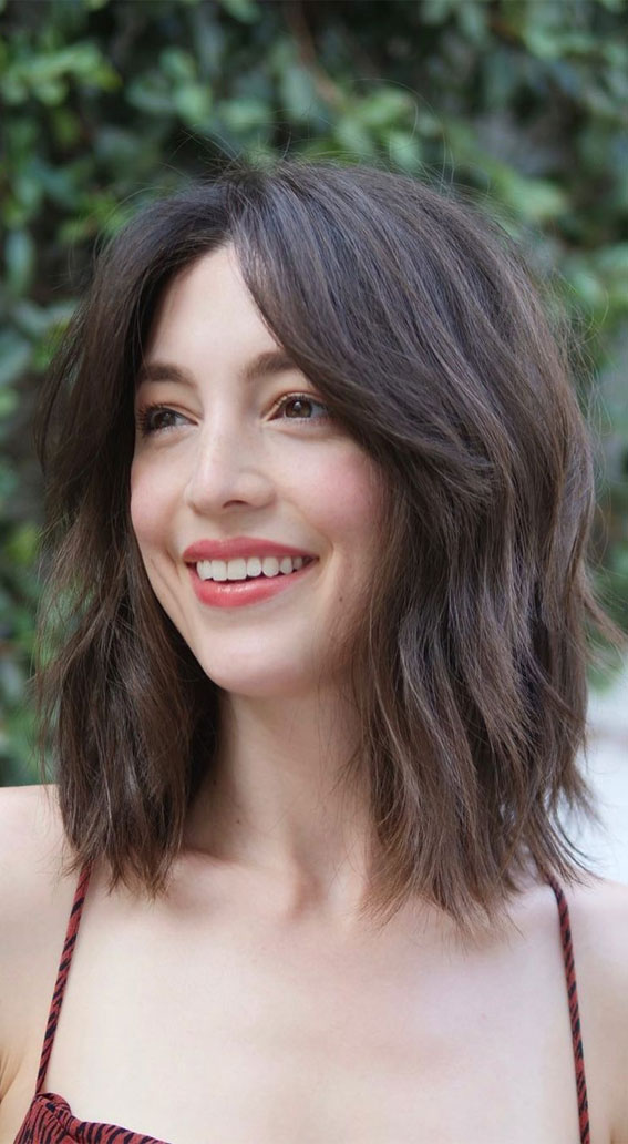 22 Best Curtain Bangs For Every Hair Type Lob Haircut With Bang