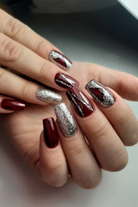 41 Pretty Nail Art Design Ideas To Jazz Up The Season : Red and Silver Nails