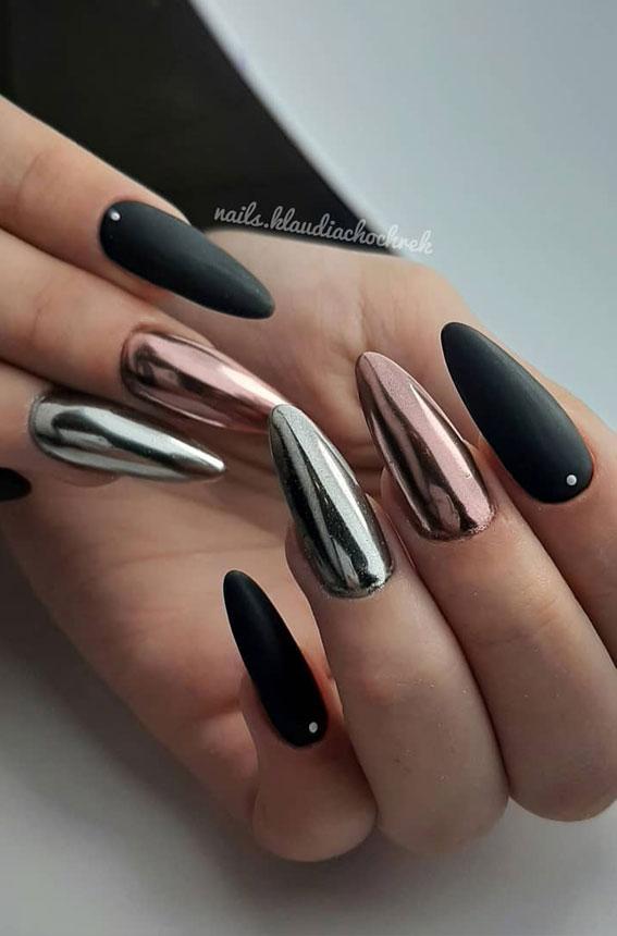 41 Pretty Nail Art Design Ideas To Jazz Up The Season : Chrome effect nails