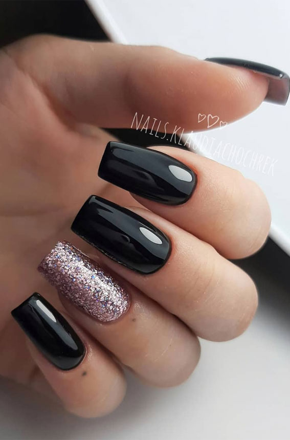 41 Pretty Nail Art Design Ideas To Jazz Up The Season : Black and Pink Glitter Nails