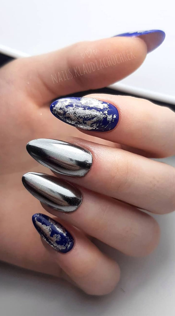 41 Pretty Nail Art Design Ideas To Jazz Up The Season : Blue and Silver Nails