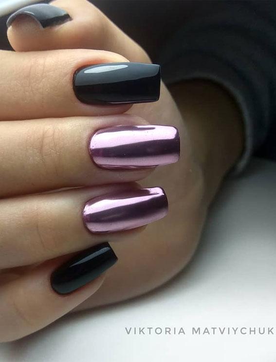 41 Pretty Nail Art Design Ideas To Jazz Up The Season : Black mixed Mauve Nails
