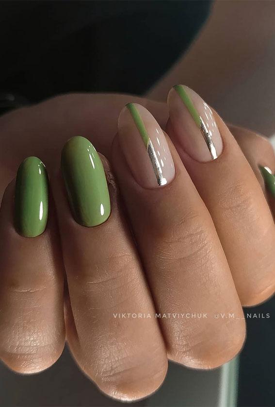 41 Pretty Nail Art Design Ideas To Jazz Up The Season : Two colour nail design