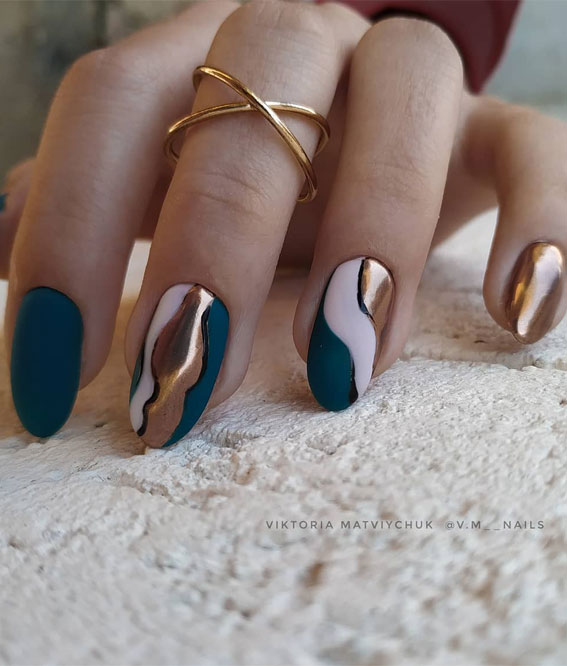 41 Pretty Nail Art Design Ideas To Jazz Up The Season : Blue and gold abstract nails