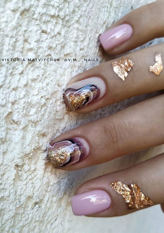 41 Pretty Nail Art Design Ideas To Jazz Up The Season : Pink Geode Nail Design