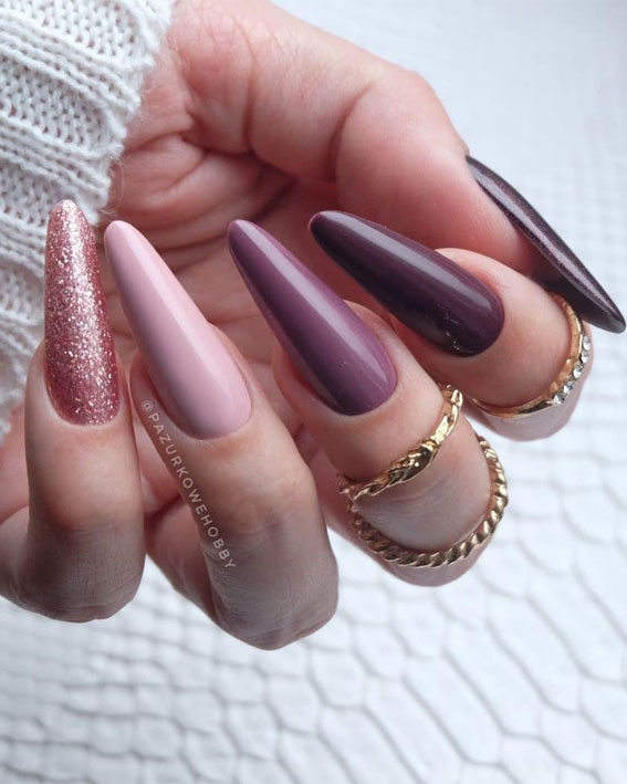 Trendy Fall Nail Designs To Wear In 2020 : Berry tone fall nails