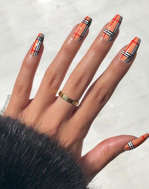 41 Pretty Nail Art Design Ideas To Jazz Up The Season : Burberry nails