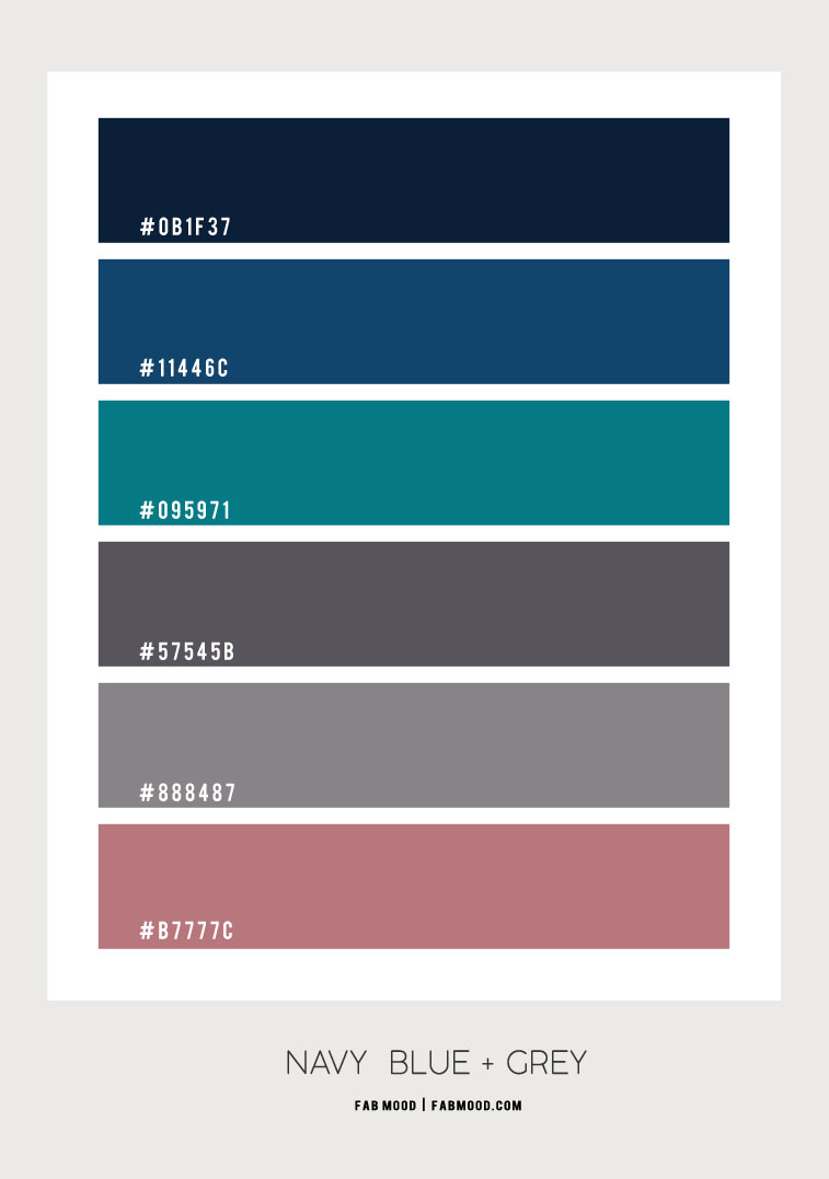 navy blue and grey color scheme, grey and navy blue color combo, color scheme, color palette, navy blue and teal color combo #colorcombo #colorscheme