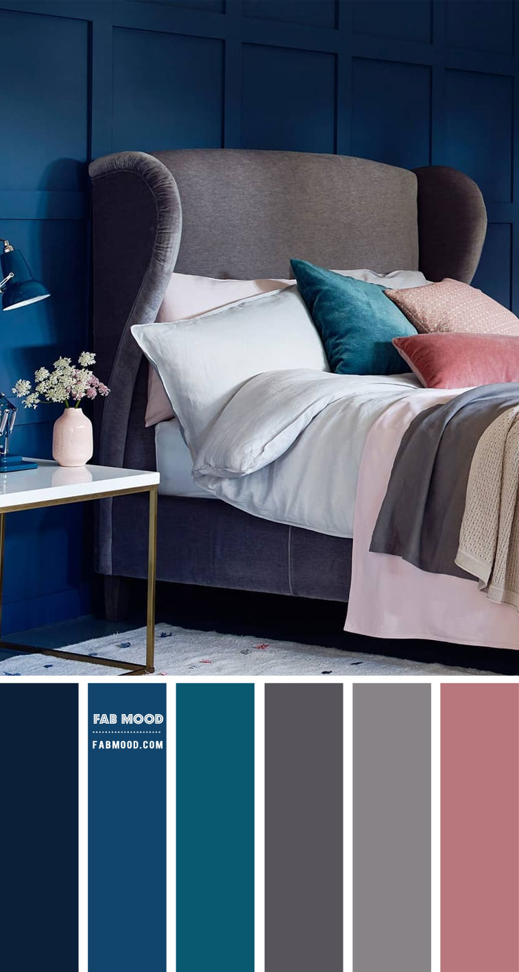 navy blue bedroom, grey and navy blue bedroom, bedroom color ideas, bedroom color scheme, bedroom wall paint #bedroomcolor #colors