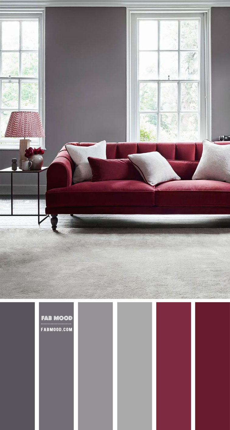 Berry and Grey Living Room Color Scheme