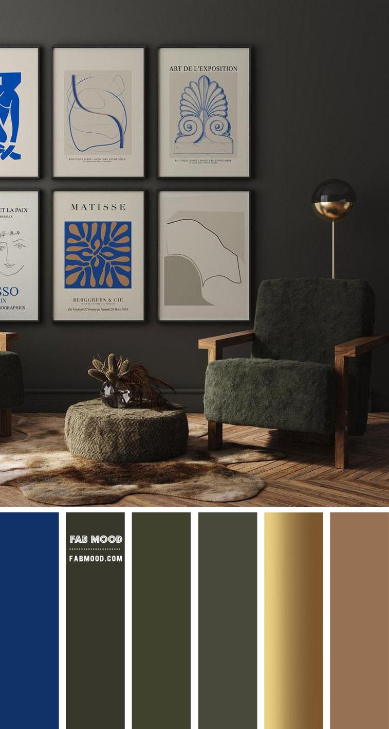 Blue + Gold Metallic + Olive Green Living Room Color Scheme