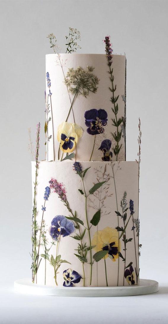 flower pressed on wedding cake, wedding cake , simple wedding cake, dried edible flowers