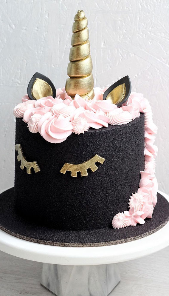 black unicorn with pink accent cake, black and pink unicorn birthday cake, birthday cake ideas
