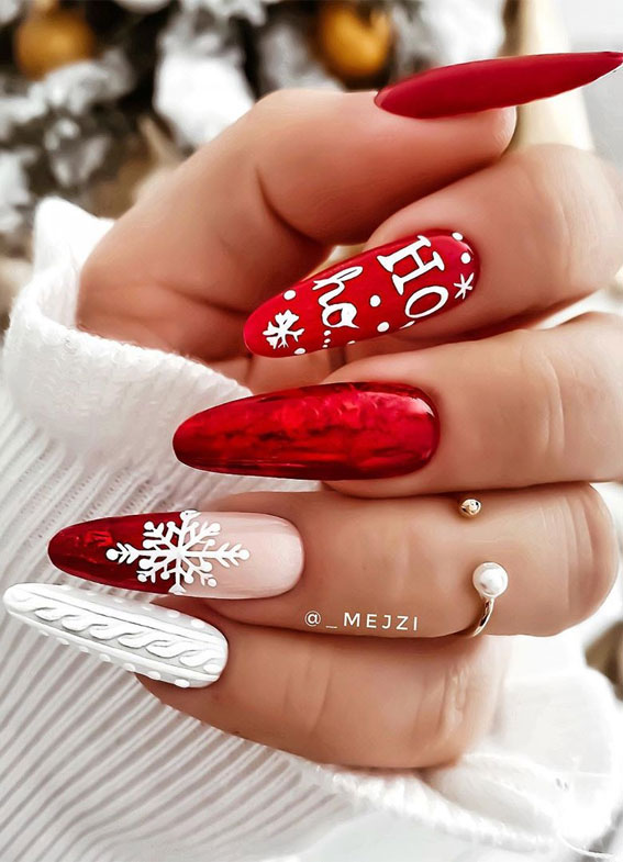 25 christmas nails 2020 red and white sweater christmas nails 25 christmas nails 2020 red and