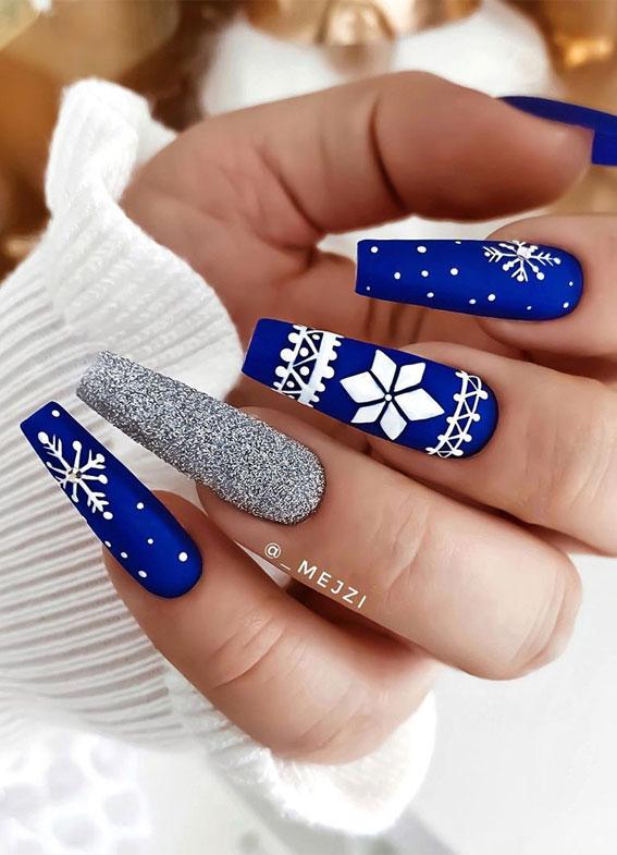 royal blue and silver nails, royal blue and silver winter nails, snowflake on royal blue nail color, winter nail colours, winter nail colors, snowflake nail designs, winter nails 2020, winter nail designs 2020, christmas nails blue