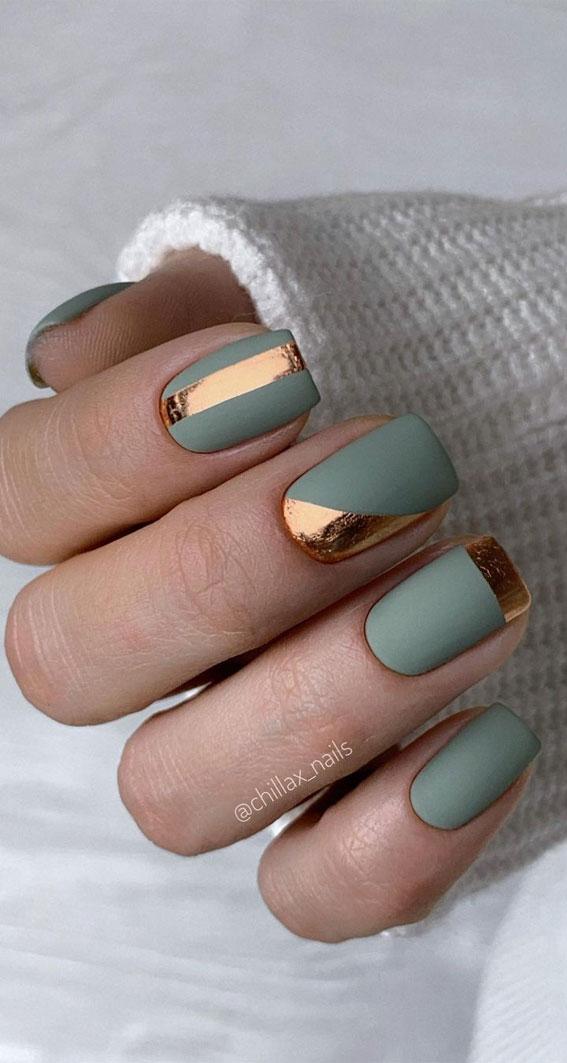 nail ideas, green and copper nails, nail ideas 2020, nail design ideas 2020