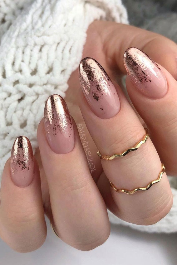 nude pink nails, gold foil nails