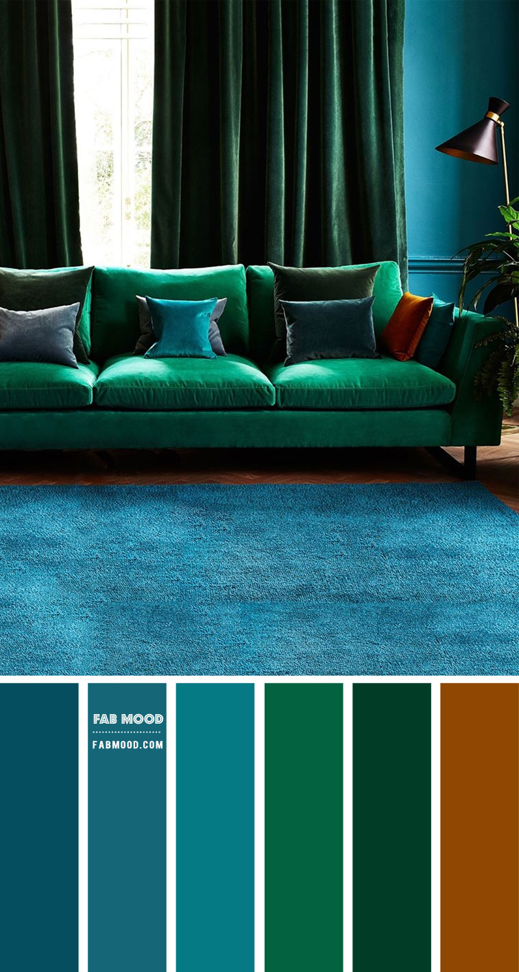 Blue Teal and Emerald Green Living Room