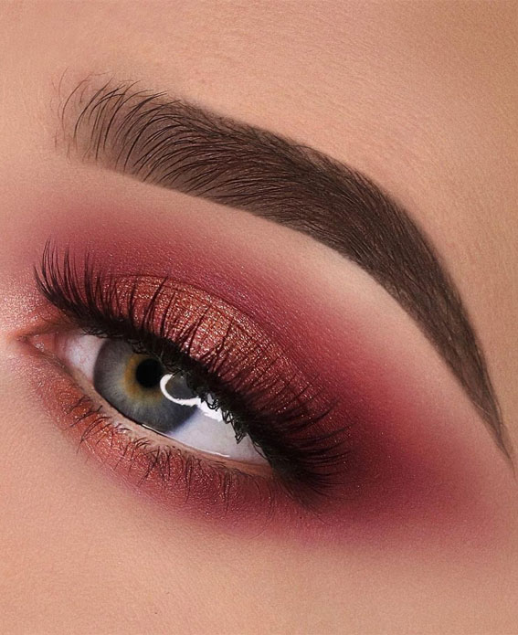 65 Pretty Eye Makeup Looks : Berry Eye Makeup Look