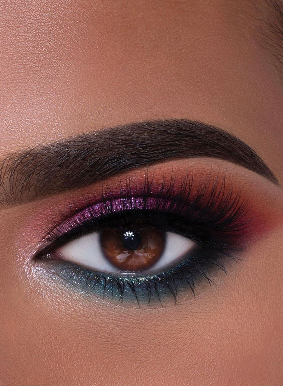 65 Pretty Eye Makeup Looks : Teal and purple eye shadow look