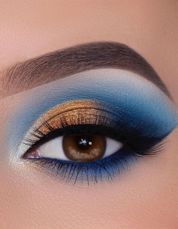 65 Pretty Eye Makeup Looks : Blue and gold eye shadow look