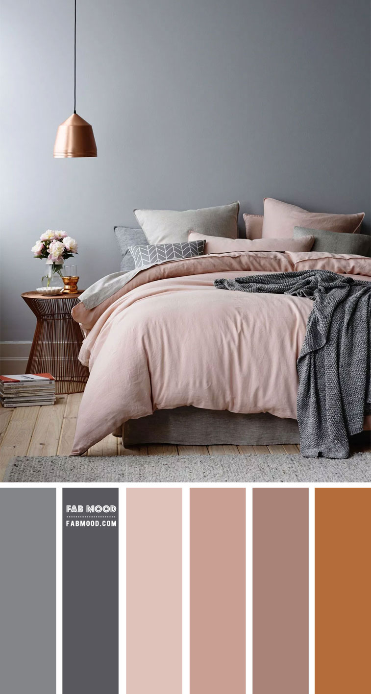 Grey and Mauve Bedroom with copper accent