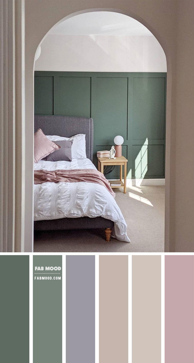 muted tone bedroom, muted green bedroom, calm color bedroom, soothing bedroom, green bedroom walls #bedroomcolor