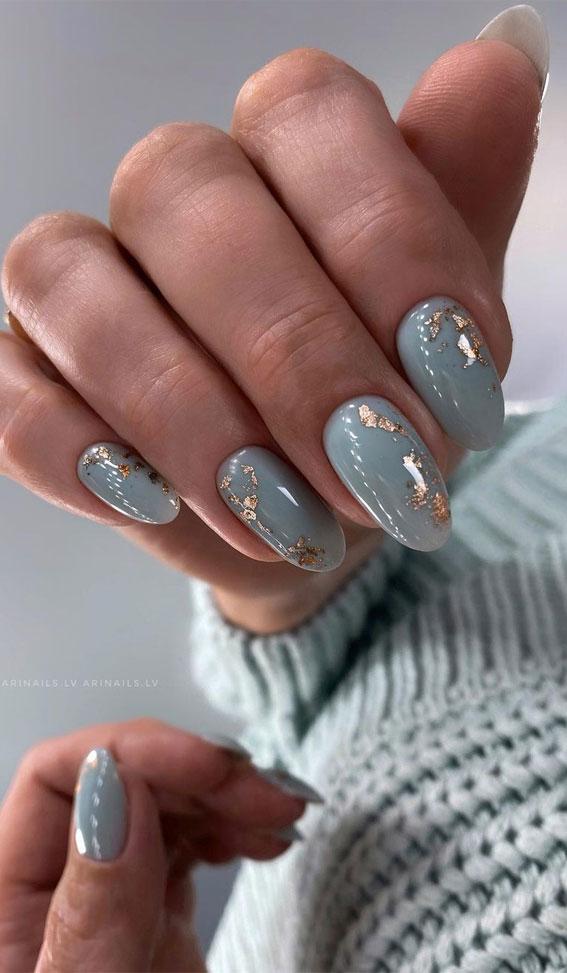 blue nails with gold foil, nail art, nail art design, short nails, minimalist nails, minimalist nail look, simple nail designs 2020