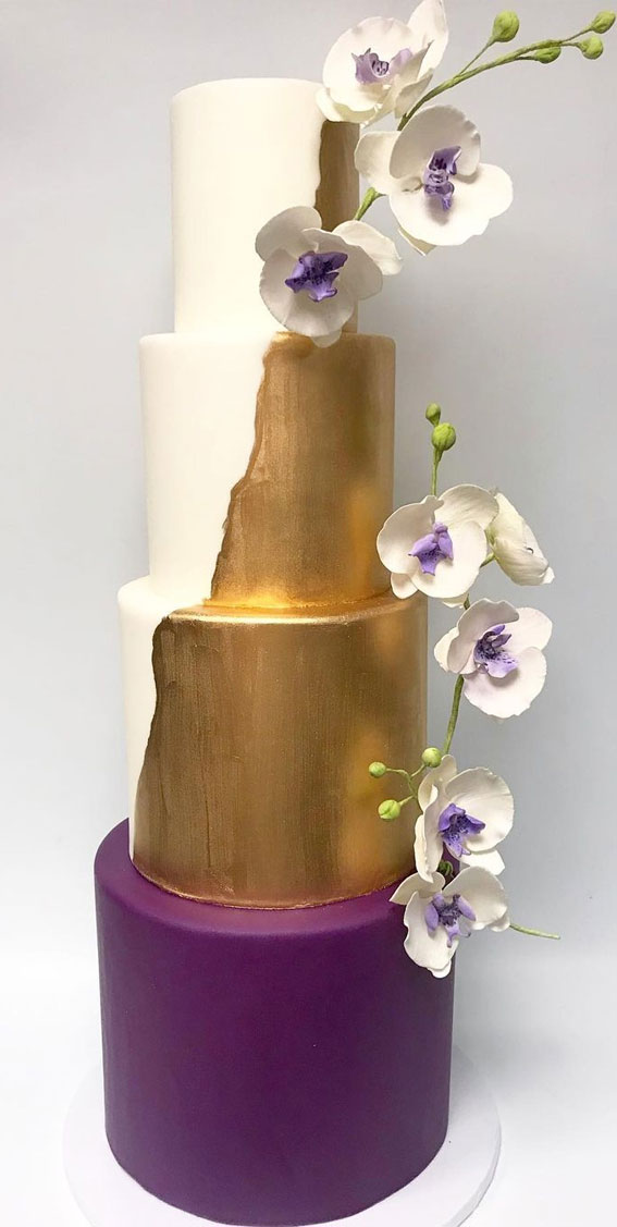 41 Best Wedding Cake Styles For Your Big Day : Gold and purple wedding cake