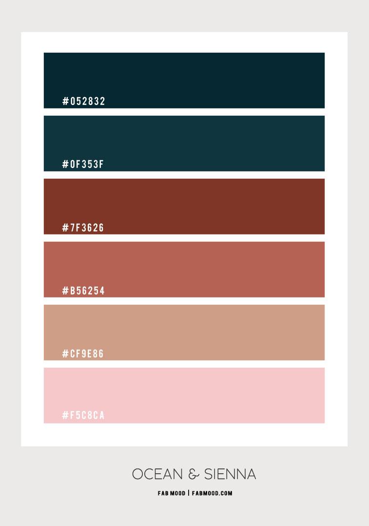 ocean color hex, ocean green and burnt sienna, sienna and deep ocean color hex, deep green and terracotta color palette, color hex, burnt sienna and deep green color combination