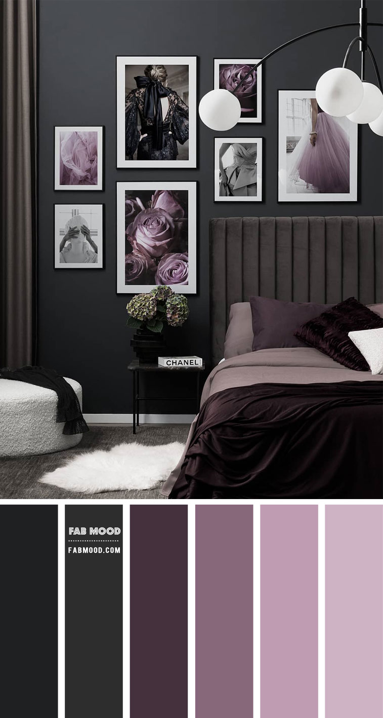 9 Best Bedrooms New Year's Resolution Ideas 2021 – Charcoal, Plum and Lilac Bedroom